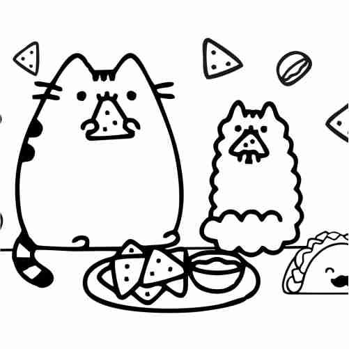 Pusheen kawaii eating tacos coloring pages