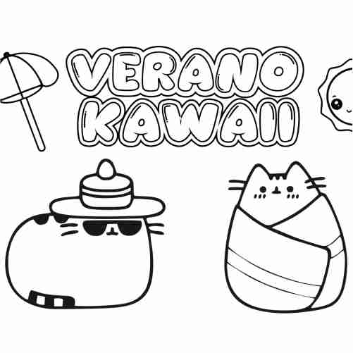 Funny Pusheen Kawaii in summer coloring pages