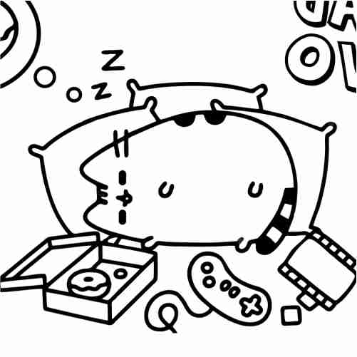 Lazy Pusheen Coloring Pages