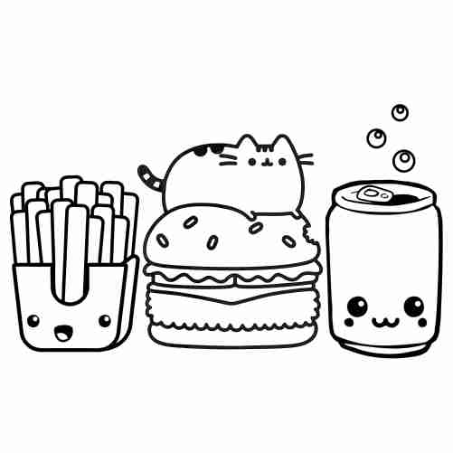 funny Pusheen kawaii coloring pages