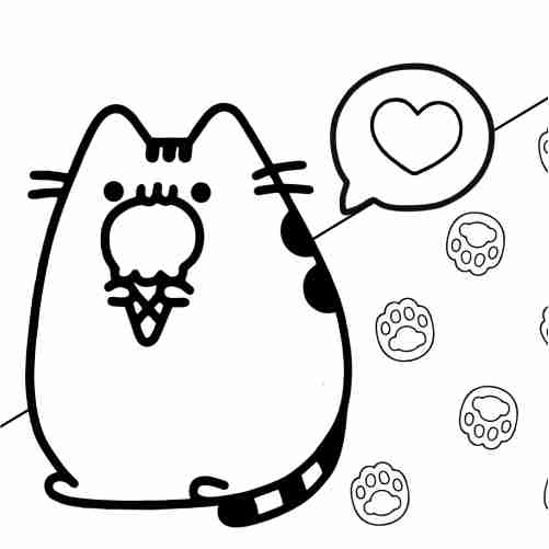 Pusheen eating delicious ice cream coloring pages