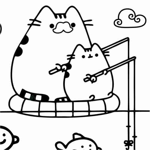 Pusheen fishing with his son coloring pages
