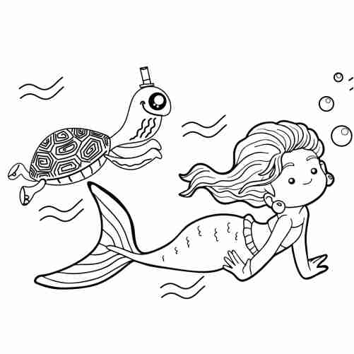 Mermaid and kawaii turtle coloring pages