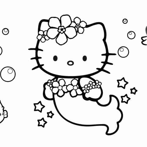 Hello kitty mermaid coloring pages