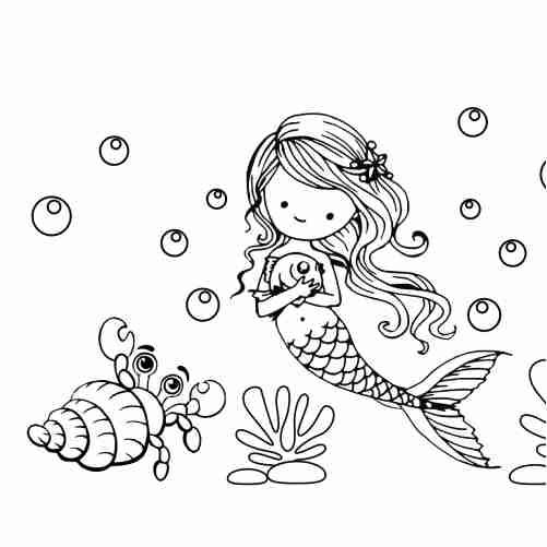 Mermaid and snail Kawaii coloring pages