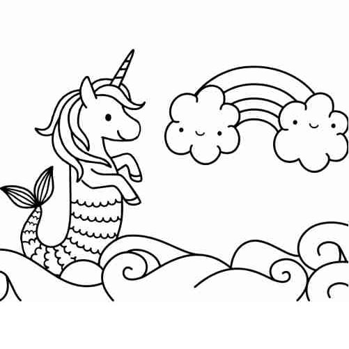 Mermaid unicorn coloring pages for kids