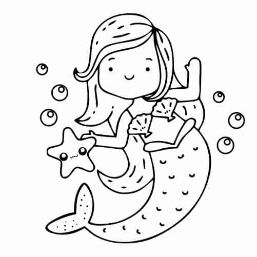 kawaii happy mermaid with starfish coloring pages