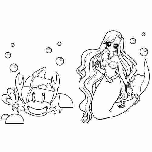 Little mermaid coloring pages for kids