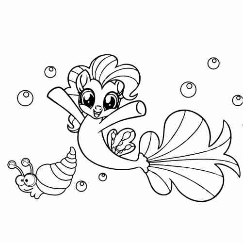 Pony mermaid with kawaii snail coloring pages
