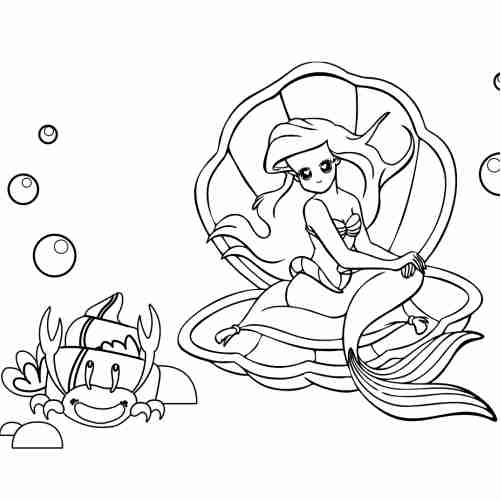 Little mermaid and her sea friends coloring pages