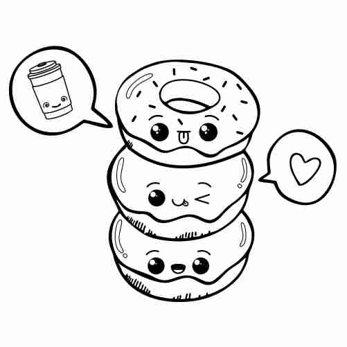 Happy and funny kawaii donuts coloring pages