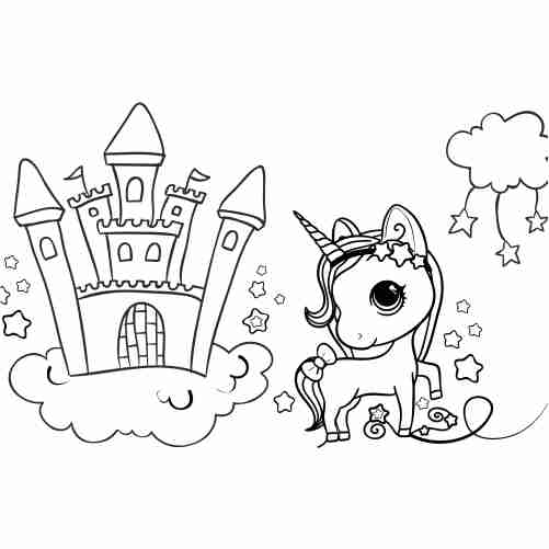 Kawaii unicorn in castle coloring pages