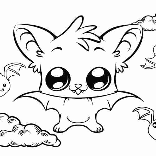 Baby bat coloring pages for kids