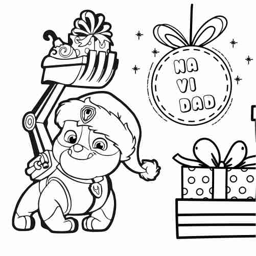 Paw patrol christmas coloring page Rubble 500x500