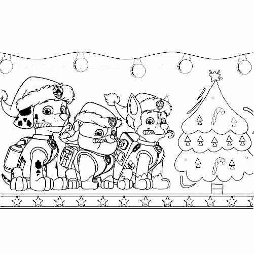 Paw patrol christmas coloring page Rubble, Marshall, Rocky 500x500