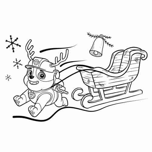 Paw patrol christmas coloring page Rubble reindeer 500x500