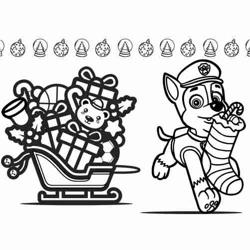 Paw patrol christmas coloring page chase 500x500