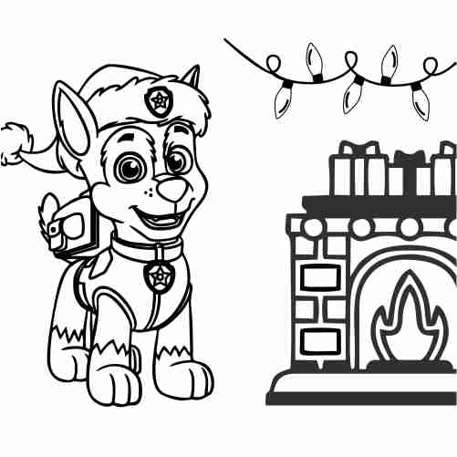 Paw patrol christmas coloring page chase waiting for santa in the chimney 500x500