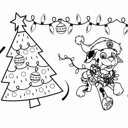 Paw patrol christmas coloring page marchall 500x500