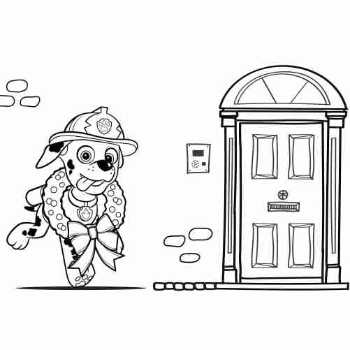 Paw patrol christmas coloring page marchall funny 500x500