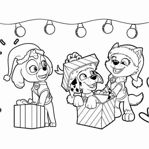 Paw patrol christmas coloring page marchall, sky, everest 500x500