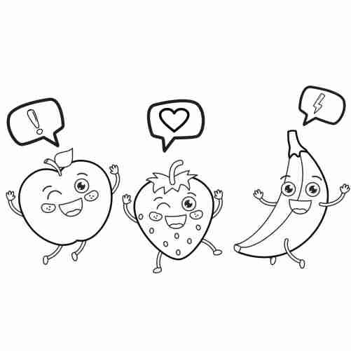 apple strawberry and banana kawaii dancing coloring page