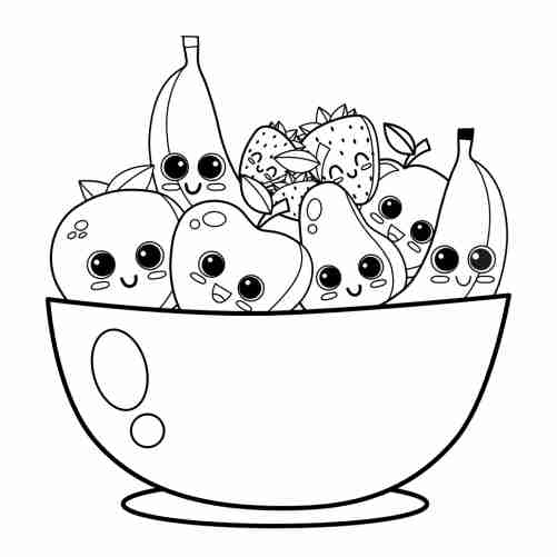cute fruit bowl coloring page