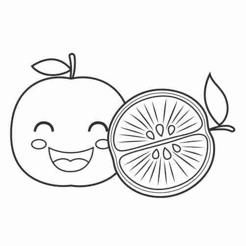 kawaii apple coloring pages