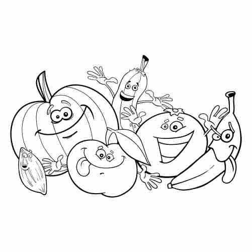 kawaii crazy fruits coloring pages