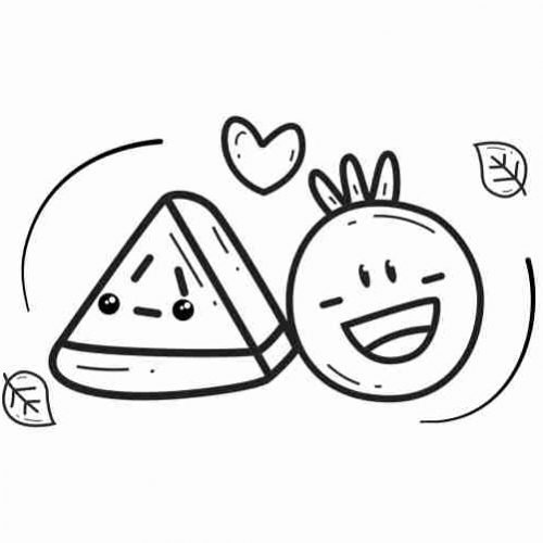 kawaii fruit forbidden love coloring page