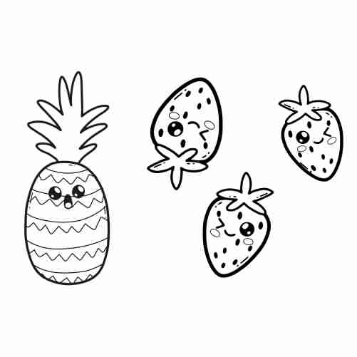 kawaii strawberry and pineapple floating coloring page