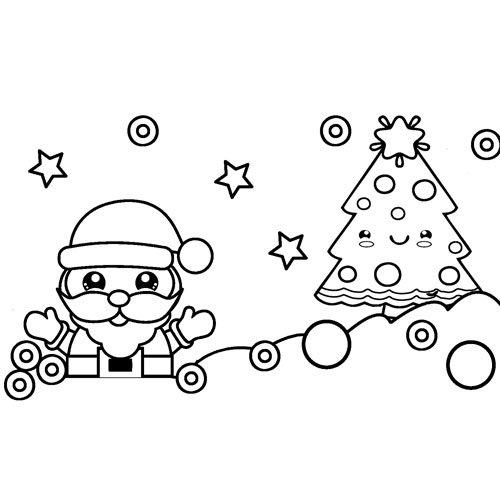 kawaii happy santa claus coloring book