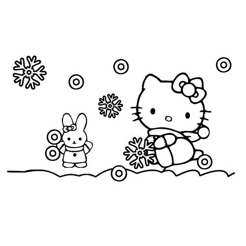 hello kitty in the snow with her friend coloring book
