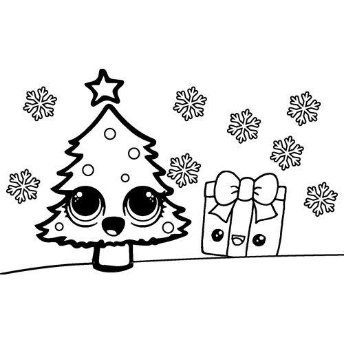 magical christmas with kawaii christmas tree and gift coloring book