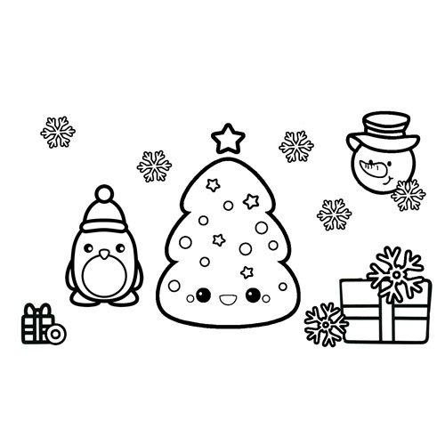 happy christmas kawaii coloring book