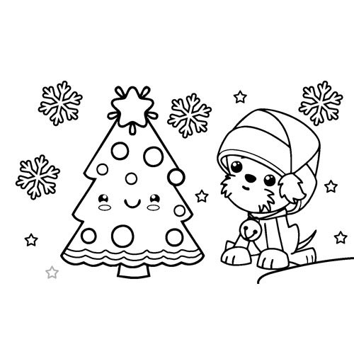 puppy at christmas time coloring book