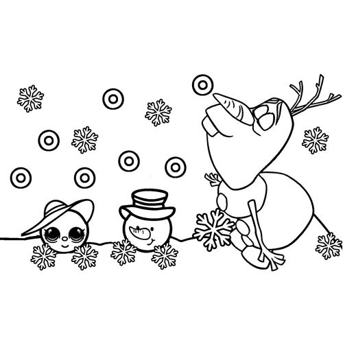 Olaf in the snow at Christmas coloring book