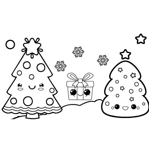 kawaii christmas trees with gift coloring book