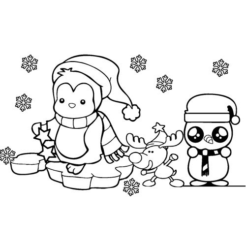 happy kawaii penguins in the snow with friend coloring book
