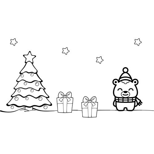 cute little bear on christmas eve coloring book