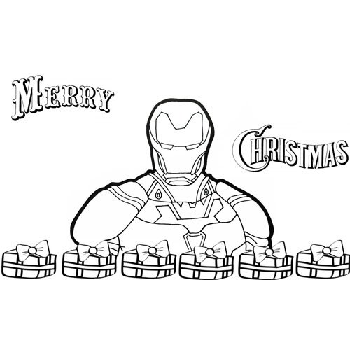 iron man merry christmas with gifts coloring book