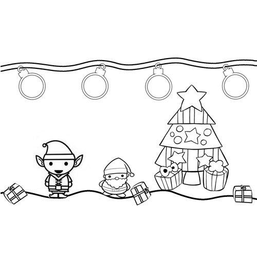 cute kawaii santa with elf at christmas coloring book