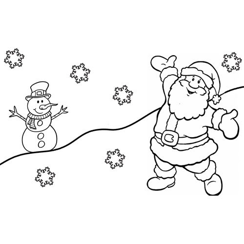 happy santa with best friend snow man coloring book