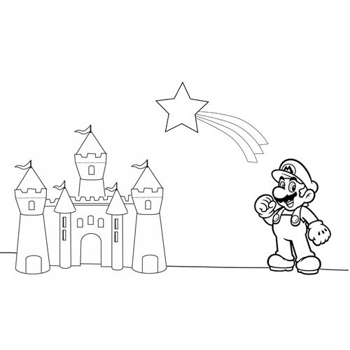 Mario bros with castle at christmas coloring book