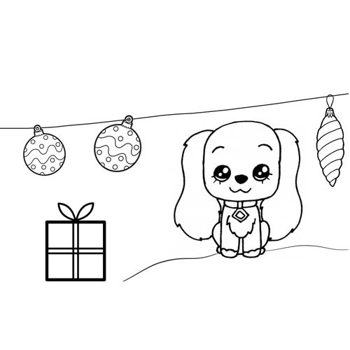 cute puppy at christmas with gifts and lights for coloring on line