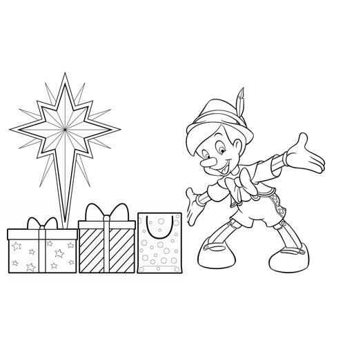 happy pinocchio with gifts at christmas time coloing book