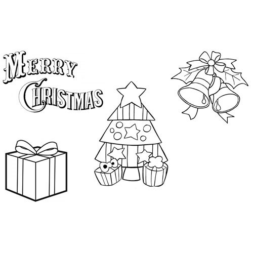 merry christmas with gifts and tree coloring book