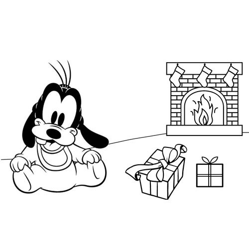 baby goofy with presents at christmas time coloring book