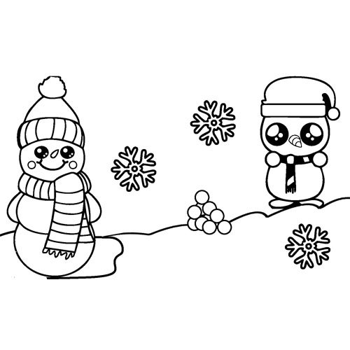 happy kawaii penguins in the snow coloring book