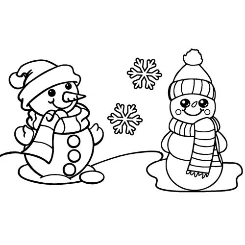 cute kawaii snow men in the snow coloring book